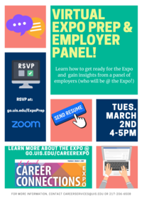 Virtual Expo Prep & Employer Panel 3/2/21 4:00pm RSVP at go.uis.edu/ExpoPrep